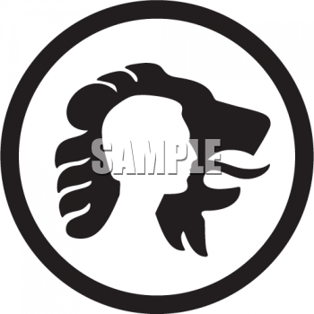 black and white lion face. Royalty Free Lion Clipart
