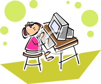 little girl on a computer