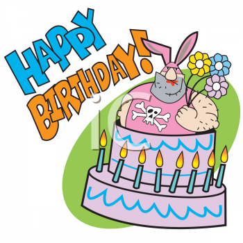 Clip art of a colorful conical birthday party hat with polka dots and a