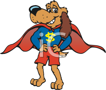 Superhero cartoon super dog in cape and costume clipart image pictures