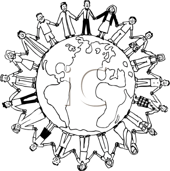 People Holding Hands Around The World Coloring Page