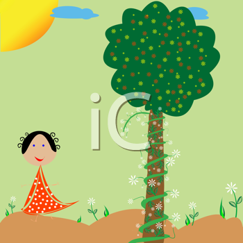 cartoon trees and flowers. Flower Clipart