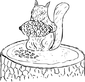 Free Squirrel Collecting Food Clipart